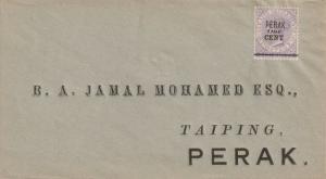 Malaya Straits Settlements 1891 Perak opt QV 1c on 6c on cover SG#44