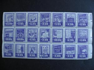 Old 1956? book stamp labels,full pane of 21 some faults but still interesting!