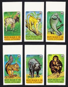 Ivory Coast WWF Endangered Animals 6v imperf top margins SG#613-618 MI#620-625