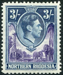 NORTHERN RHODESIA-1938-52 3/- Violet & Blue Sg 42 UNMOUNTED MINT V35928