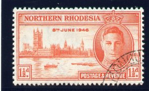 Northern Rhodesia 1946 KGVI Victory 1½d red-orange (p13½) VFU. SG 46a. Sc 46a.