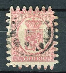 FINLAND; 1866 classic Rouletted issue fine used 40p. value