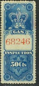 CANADA 1875 50c GAS INSPECTION REVENUE VDM. FG10 F-VF USED