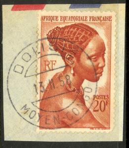 FRENCH EQUATORIAL AFRICA 1946 20fr Woman on Piece w DOLISIE Middle Congo Pmk