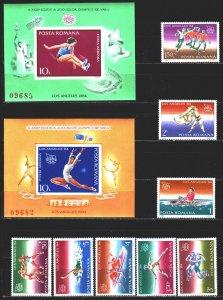 Romania. 1984. 4058-65, bl 207.8. Los Angeles Summer Olympics. MNH.
