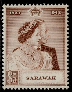SARAWAK GVI SG166, $5 brown, M MINT. Cat £48.