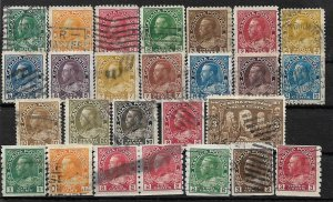 COLLECTION LOT OF 26 CANADA KG5 ERA STAMPS 1911+ CV+$81