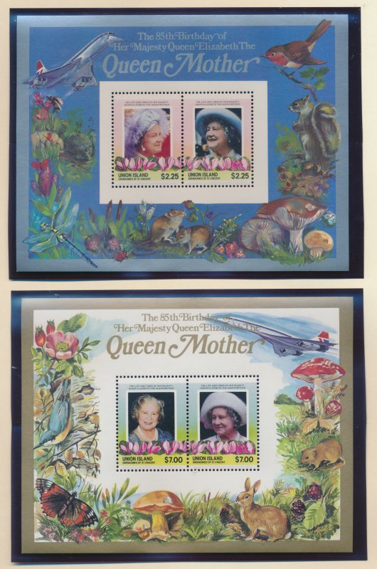 Union Island (St Vincent Grenadines) Stamps 211-2, Queen Mother Souvenir Shee...