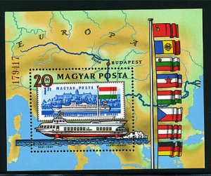 Hungary MNH S/S 2712 Hydrofoil Solyon Ship & Flags