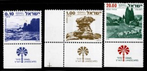 ISRAEL Scott 649,664 and 642 MNH**  stamp set with Tabs