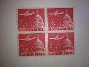 SCOTT # C64 AIR MAIL BLOCK OF 4 MINT NEVER HINGED JET LINER OVER CAPITAL