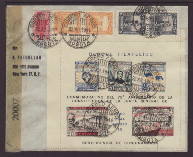 Colombia 513 to New York,NY 1944 Censored Cover
