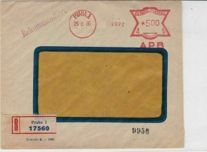 CZECHOSLOVAKIA 1935 REGISTERED  SLOGAN METER  MAIL COVER   R3801