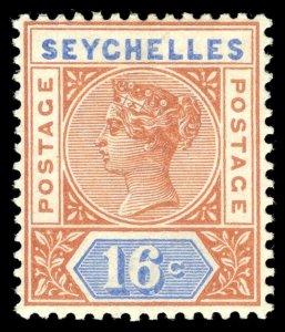 Seychelles 1890 QV 16c chestnut & ultramarine MLH. SG 14. Sc 12a.