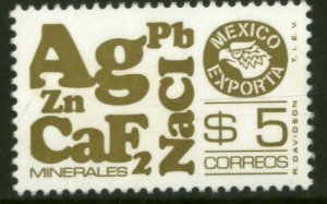 MEXICO Exporta 1120a $5P Minerals Fluor Paper 7 MINT, NH. VF.