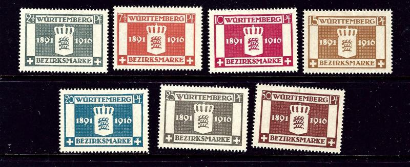 ?Germany-Wurttemberg O33-39 MH 1916 Official set