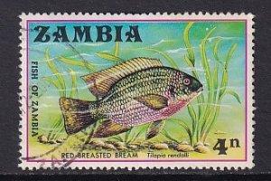 Zambia   #74   used  1971  fish   Christmas   4n   bream