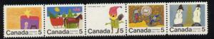 Canada 523a,528a MNH Christmas, Children's Art (strips have been folded)