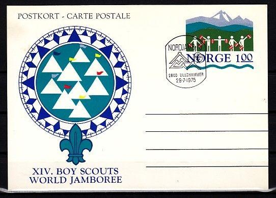 Norway, 1975 cancel. Scout issue on Postal Card. First day cancel.