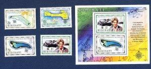 KIRIBATI - Scott 742-745a  - FVF MNH - Independence, Map, Amelia Earhart - 1999