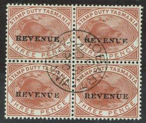 TASMANIA 1900 REVENUE OVERPRINTED 3D BLOCK USED LAST DAY OF POSTAL VALIDITY