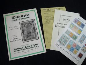 ROBSON LOWE AUCTION CATALOGUE 1963 EUROPE & COLONIES 'WOLFF-SALIN' COLLECTION