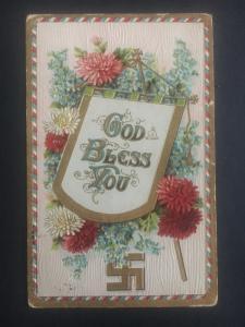 USA Good Wishes Swastika God Bless You Postcard Cover to York NE