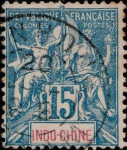 INDOCHINE - 1898 - CàD  QUINHONE / ANNAM  sur Yv.8 15c bleu