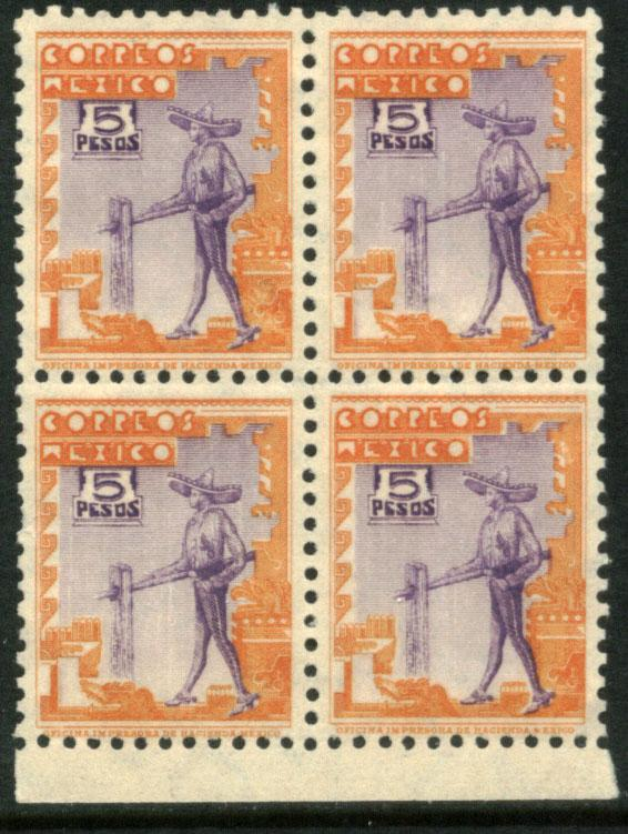 MEXICO 720, $5P CHARRO 1934 DEFINITIVE. UNUSED BLOCK 4 (111)