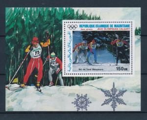 [55335] Mauritania 1987 Olympic games Calgary Cross country Skiing MNH Sheet