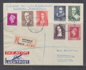 NETHERLANDS, 1947 KLM First Flight Airmail cover to Johannesburg, South Africa.