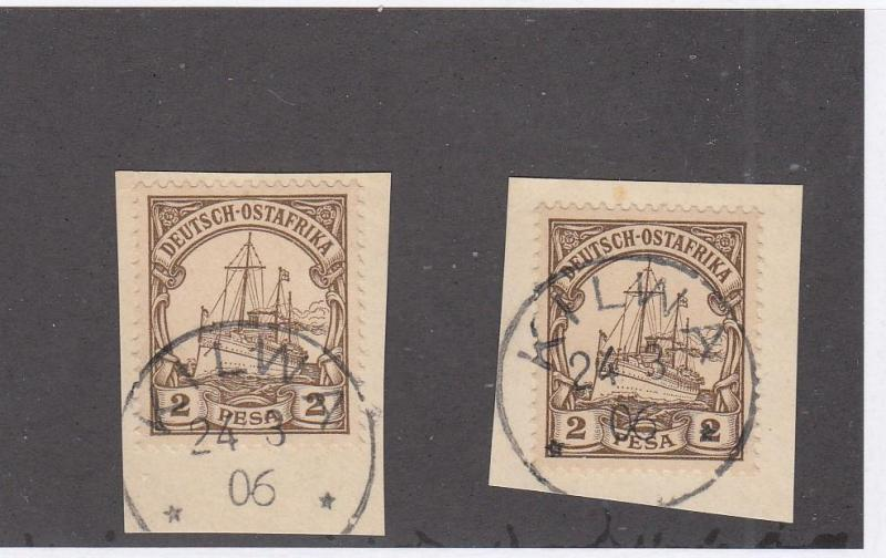 GERMAN EAST AFRICA # 11 x 2 ON PIECES WITH SUPERB KILWA DATED TOWN CANCELS