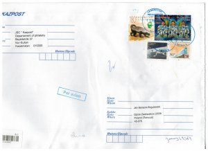 Kazakhstan 2020 Registered Cover to Poland Stamps Space Astronauts Train Animals