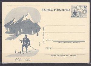 Poland, 1957 issue. Skier Postal Card. ^