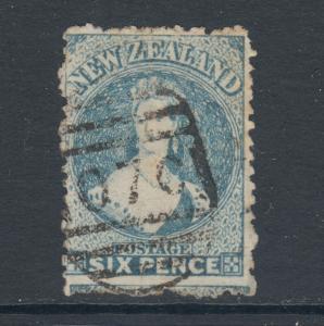 New Zealand Sc 41, SG 135, used 1873 6p blue QV, grid cancel, sound, Cert