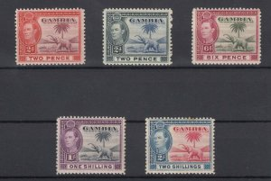 Gambia KGVI 1938 Elephant Collection Of 5 To 2/- MLH J7505