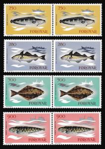 Faroe Is. Fish 4v issue 1983 in pairs SG#85-88 SC#97-100