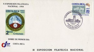 COSTA RICA 11th NATIONAL PHILATELIC EXPOSITION Sc 338 FDC 1985