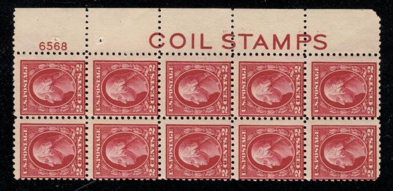 US#425 Plt# Blk. of 10 w/COIL STAMPS - Unused - O.G.
