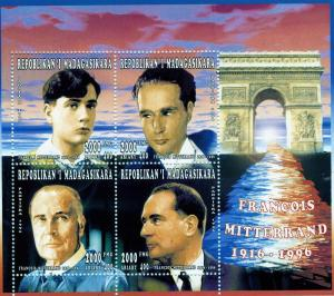 Malagasy 1996 MITTERRAND FRENCH PRESIDENT Sheet Perforated Mint (NH)