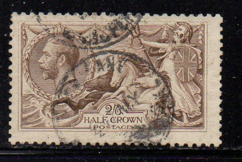 Great Britain Sc 179 1919 2/6d GV & Seahorse stamp used