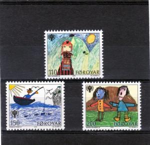 Faroe Islands 1979 Year of the Child Set (3)  Sc#45/7 MNH VF
