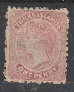 TURKS ISLANDS 1867 QV 1D NO WMK