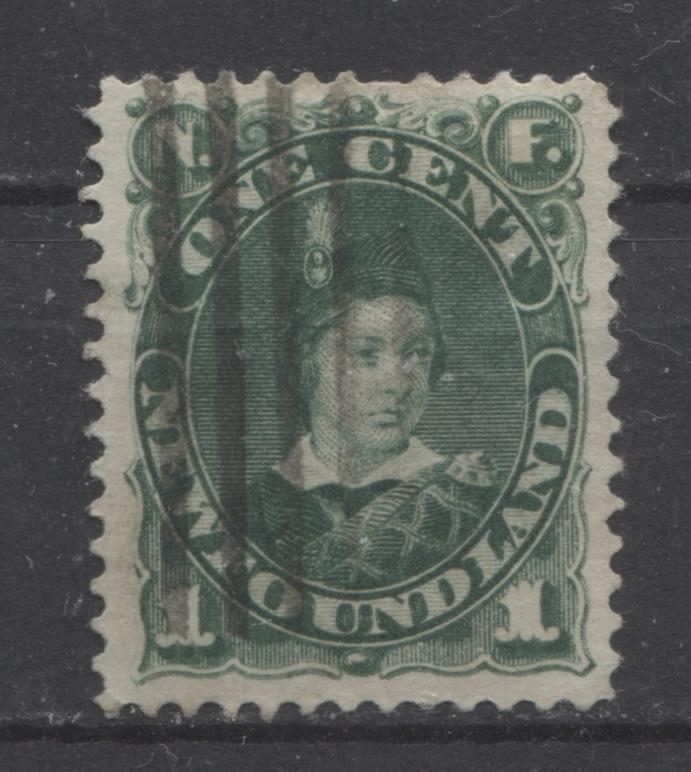 Newfoundland #45 (SG#63a) 1c Dp Grn 1896 Cents Issue Horiz Wove Paper F-68 Used