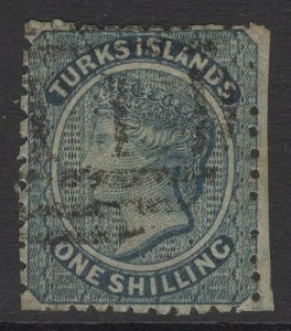 TURKS ISLANDS SG52 1881 1/= SLATE-GREEN USED