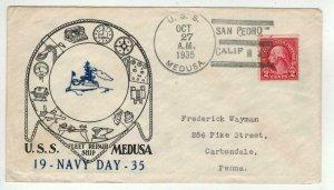 US NAVY DAY 1935 USS MEDUSA San Pedro CA SIGNED WAINSCOTT Mail Clerk