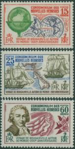 New Hebrides French 1968 SGF145-F147 Bougainville World Voyage set MNH
