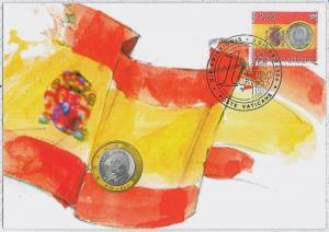 37282  MAXIMUM CARD - VATICANO : COINS euro : SPAIN Flag  2004