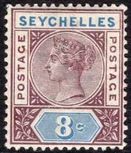 SEYCHELLES-1890-92 8c Brown-Purple & Blue Sg 3 MOUNTED MINT V50062