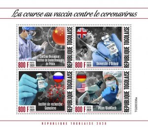 Stamps of 2020. TOGO. - THE RACE FOR CORONAVIRUS VACCINE